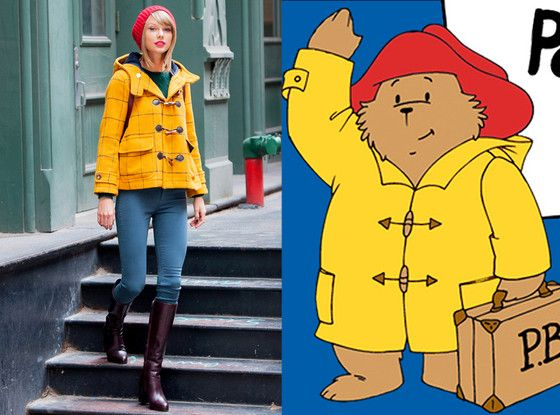 Taylor Swift Channels Paddington Bear in Bright-Yellow Toggle Coat and Red Cap: See for Yourself!  Taylor Swift, Paddington Bear