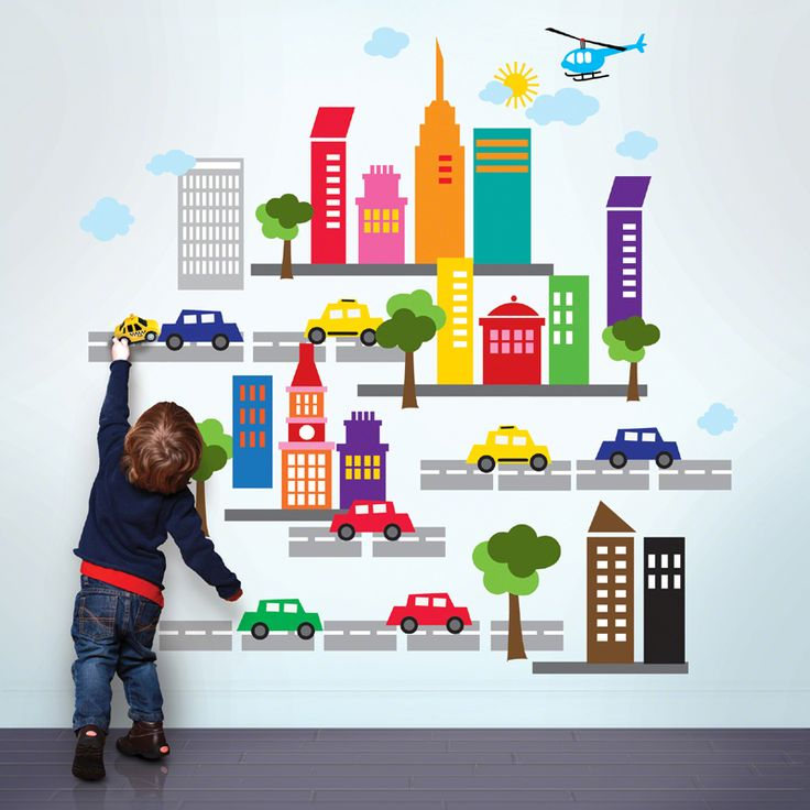 City wall decals- perfect for a little cars and trucks lover!