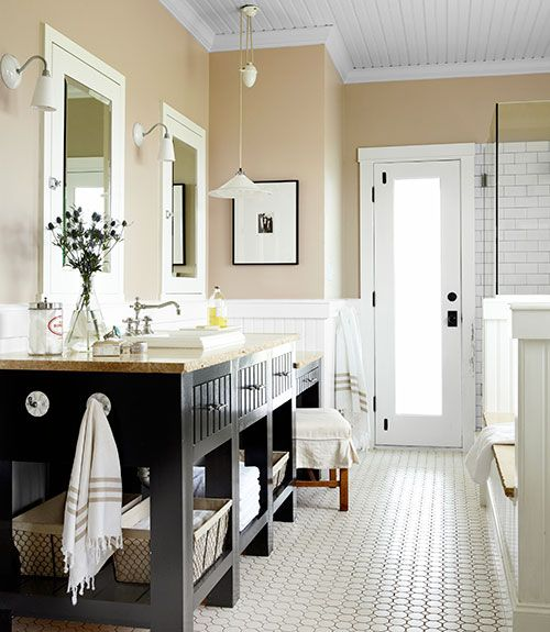 Gorgeous bathroom makeover❣ Follow the link for the before image—a doorway was eliminated to unify the vanities—smart design❣