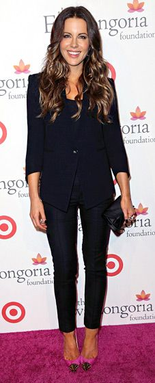 Kate Beckinsale looked elegant in a black Helmut Lang pant suit, Christian Louboutin shoes, and a DVF clutch at the Sept. 28 Eva Longoria Foundation dinner in Hollywood.