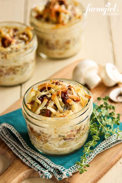 Make-Ahead Individual Potato Gratins with Bacon and Mushrooms by @Brenda Franklin Franklin Score | a farmgirls dabbles