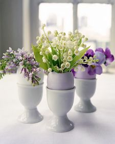 This DIY is for eggshell vases for tiny flower arrangements, which is adorable! I want to remember to combine this with the idea pinned to Earth Day Board and create take home favors for Easter dinner: an eggshell planter. each shell contains soil and a sprouted plant (maybe herbs?) for the guests to plant and grow at home. The shells are excellent fertilizer!