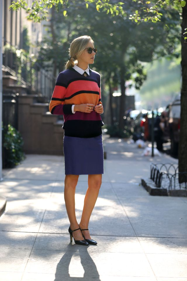 minkpink colorblocked sweater knit knitwear bulky chunky colorful thick stripes j crew pencil skirt salmon pink navy purple gold mustard yellow gorjana stacking rings franco sarto mary janes suede patent navy pumps heels monogram gold necklace