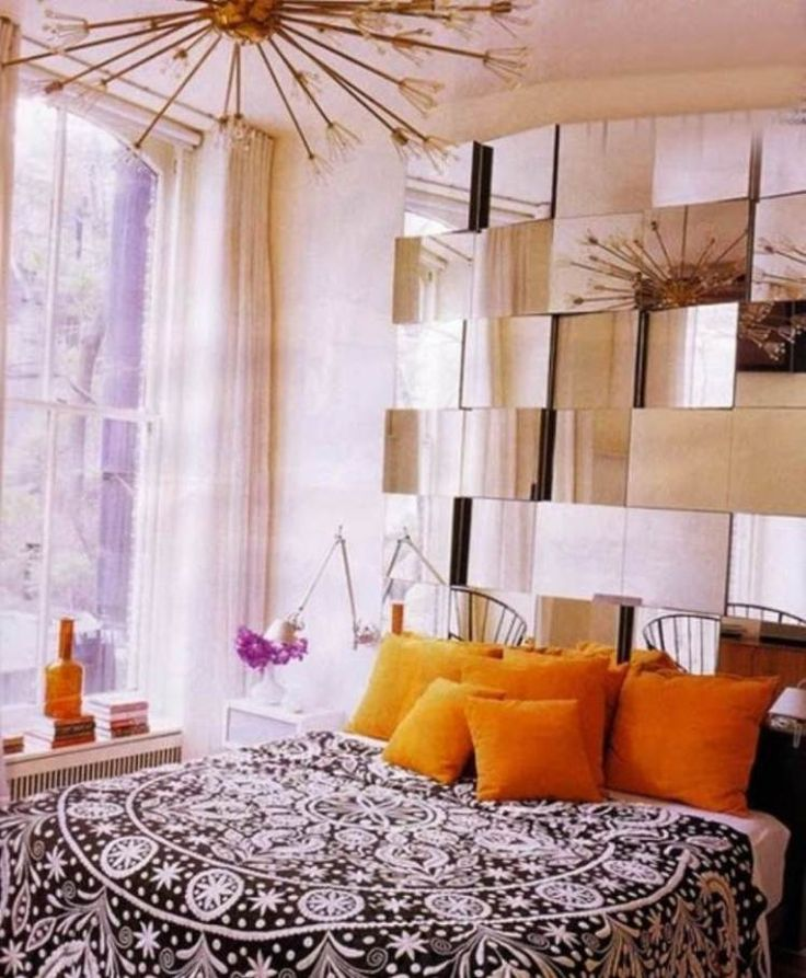 How to Decorate Small Bedrooms I like this mirror headboard idea, but by bed is in front of the window