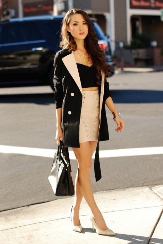 Crop Top Mini Skirt with Blazer- Gorgeous Outfit Ideas