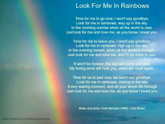 Image result for look for me in rainbows poem