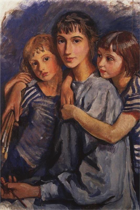 Зинаида Серебрякова  (1884-1967)   Self-portrait with Daughters  1922