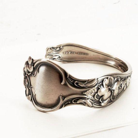 Vintage Violet Spoon Cuff Bracelet Sterling Silver R by Spoonier, $75.00