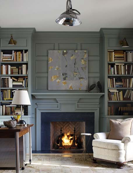 Color/Fireplace/Bookshelves