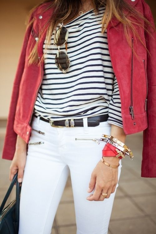 Red Jacket & BW Striped Sweater & White Pants from azita66.tumblr.com