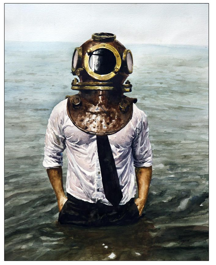 Victor Grasso, Sunk!, Self Portrait with Diving Helmet