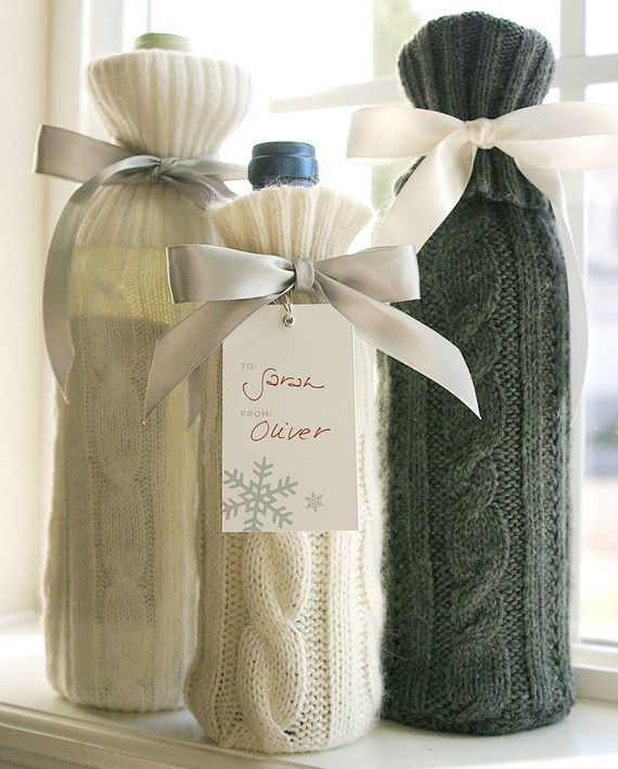 Bottle Sweater Sleeves...made from old sweaters.