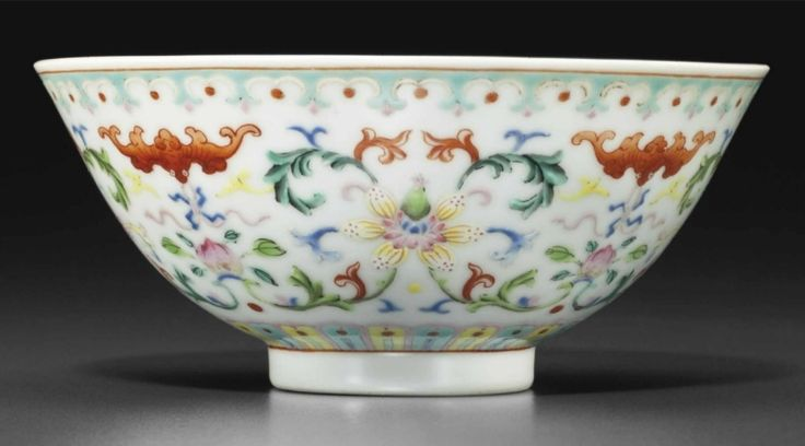 A Famille Rose bowl, Qianlong six-character seal mark in underglaze blue and of the period (1736-1795)