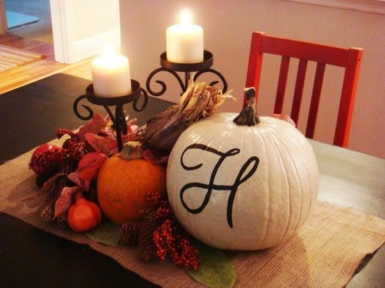 Thanksgiving decor-  Is this your house, @Heather Creswell Creswell Creswell Creswell Creswell Creswell Sulikowski Saviano ?  I saw the 'H' on the pumpkin hehe ;)