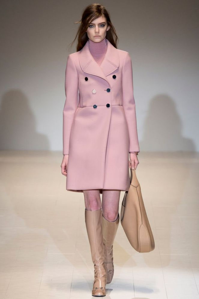 fall 2014 trends colours pink, brown boots, gucci pink coat turtleneck