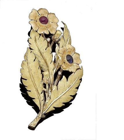 A gem-set flower brooch, by Buccellati