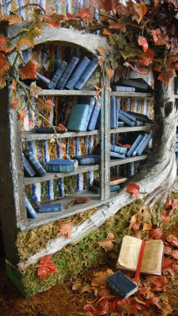 Miniature Fall Blossoms Bookshelf by LDelaney on Etsy, $475.00