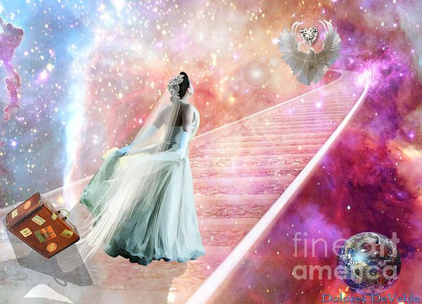 Delores DeVelde Art ~ For myself I renamed this-- The Unblemished bride has come, all baggage is gone!  Her focus on Jesus as she climbs higher to ♥ Him ♥
