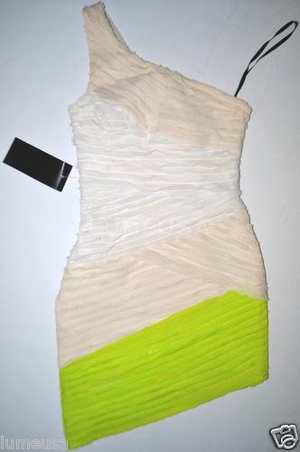 BEBE Dress SILK Stripe One Shoulder Beige Neon Yellow White