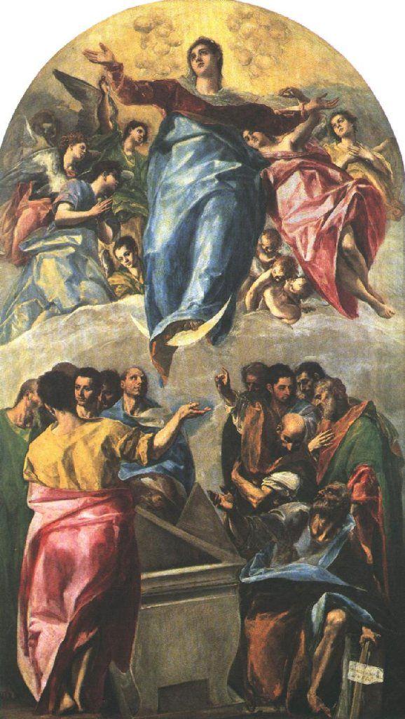 ***El Greco, Asunción de la Virgen, 1577. Chicago, Art Institute. Tiziano en Sta Maria dei Frari representa uan Virgen que asciende sola a los cielos en medio de un coro angelical, esta iconografía inspira tb a El Greco quien imagina a María sobre una luna en cuarto creciente, con los brazos extendidos y la mirada dirigida hacia lo alto.