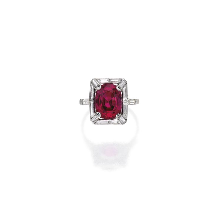 Platinum, ruby and diamond ring, France
