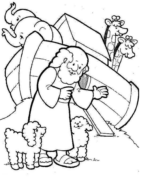 coloring pages ark two cute sheeps and noah in front of noahs