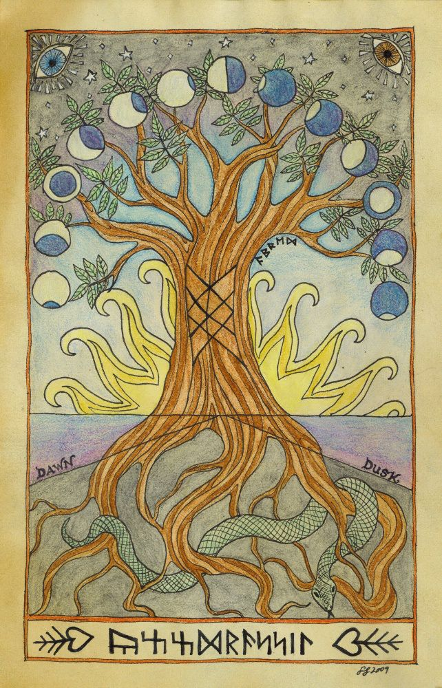 Yggdrasil. under the tree stands: yggdrassil