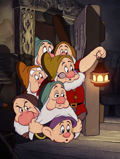 The Seven Dwarfs: Happy, Bashful, Sleepy, Sneezy, Doc, Grumpy, Dopey