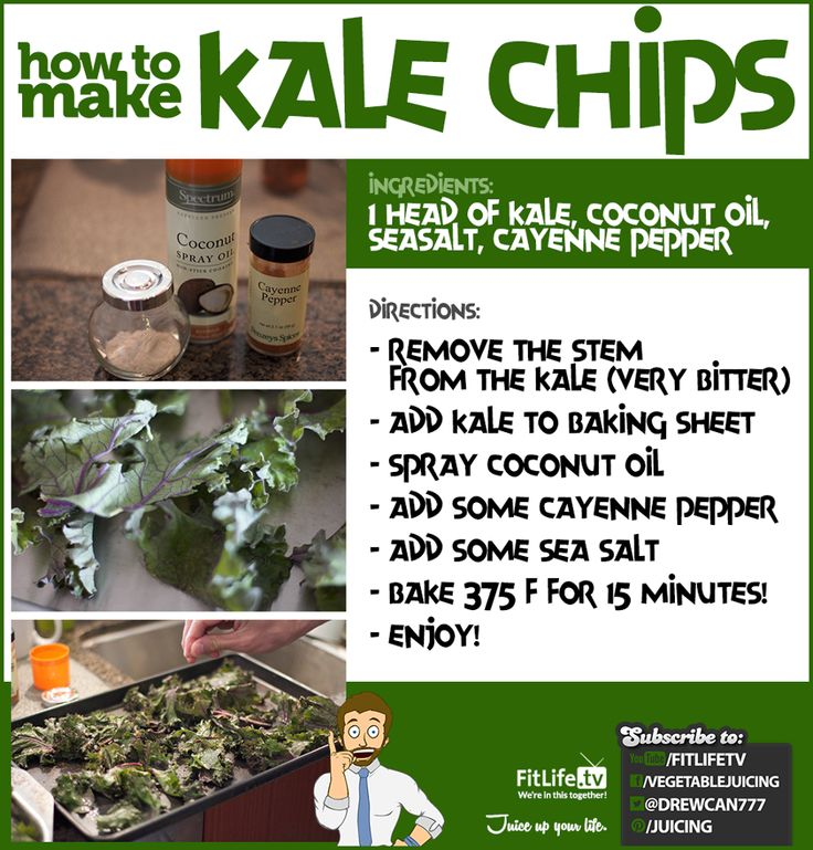 Kale Chips...mins the coconut oil and the cayene pepper.