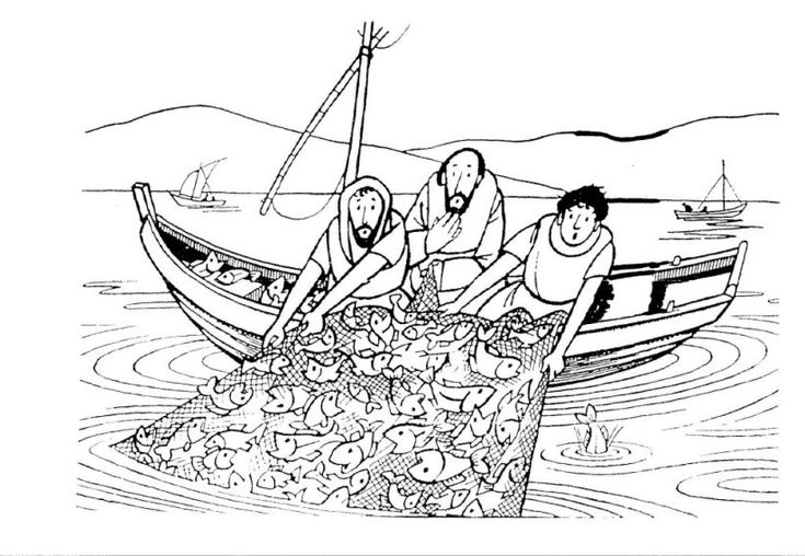 fishing net coloring page he said to them cast the net