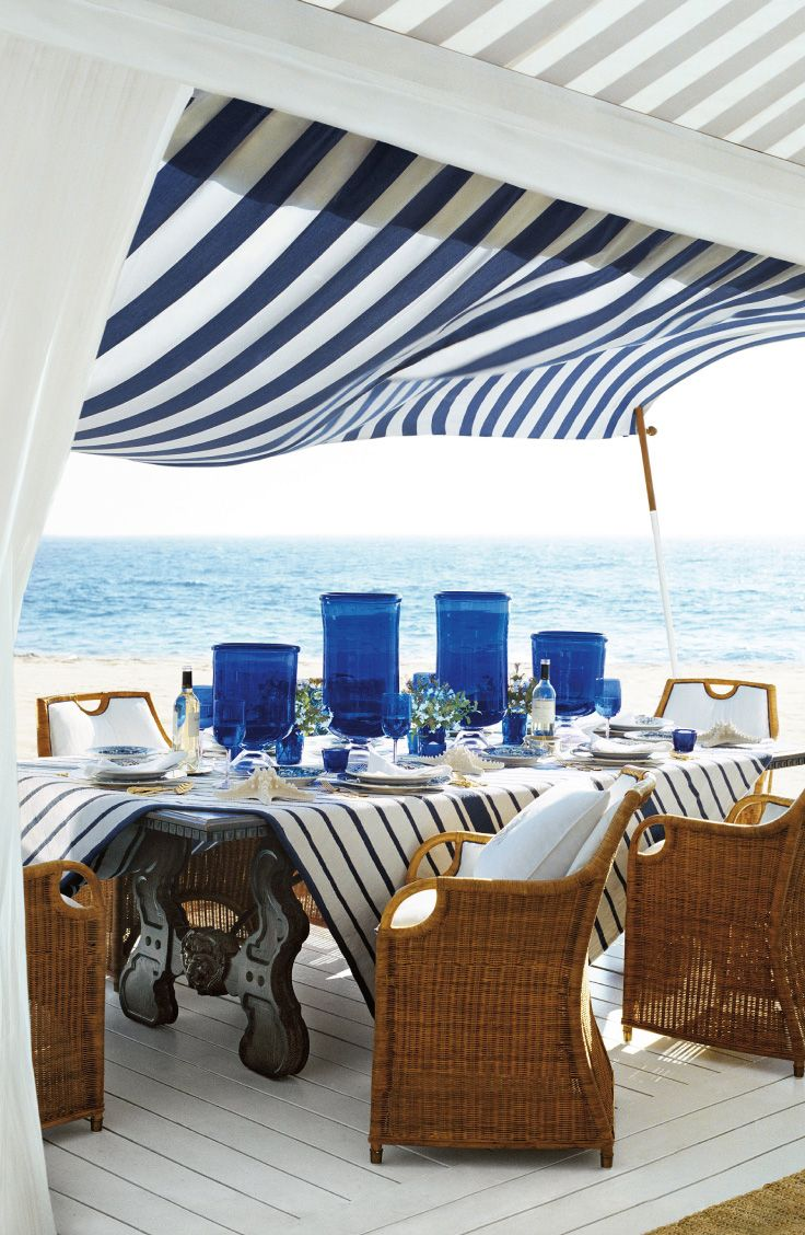 You can feel the ocean breeze. Sophisticated beachfront entertaining with a fresh maritime palette, from Ralph Lauren Home