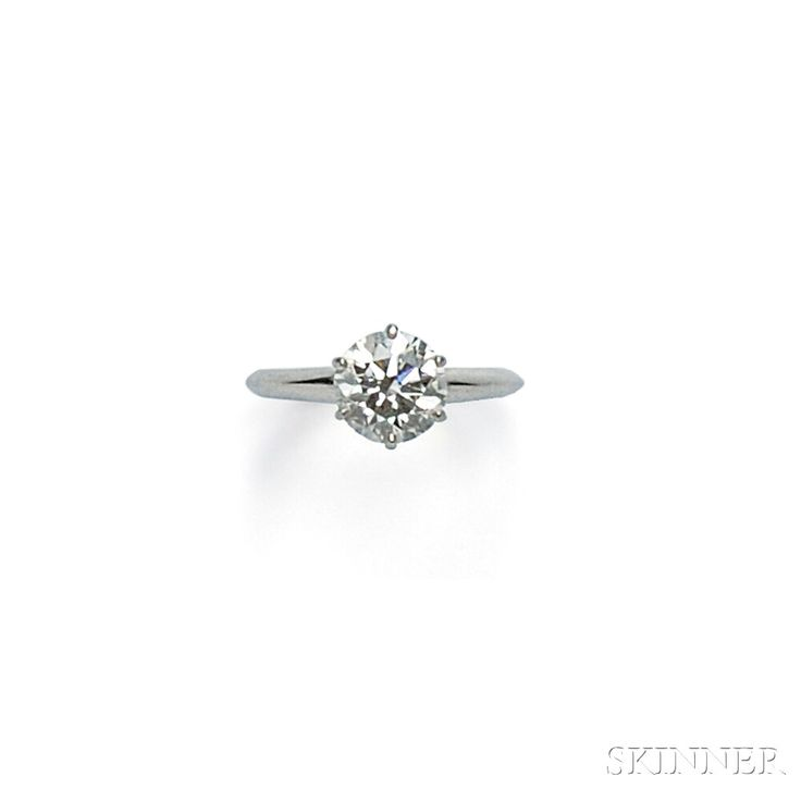 Platinum and Diamond Solitaire, Tiffany & Co. | Sale Number 2746B, Lot Number 584 | Skinner Auctioneers