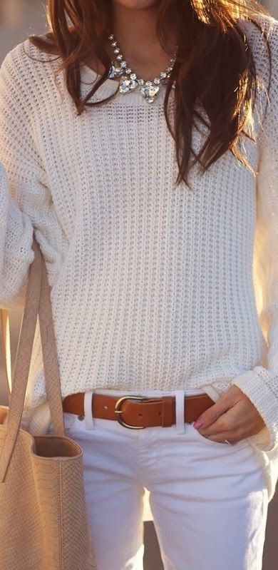 white sweater cardigan summer jeans brown belt handbag necklace women outfit fashion clothing style apparel