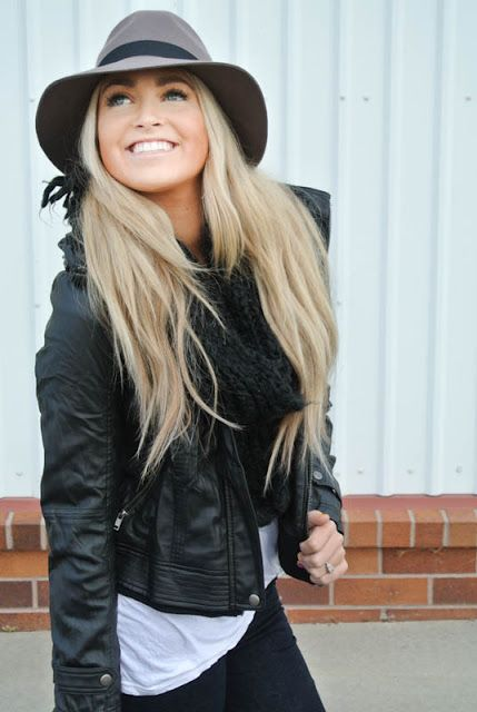 Love- Biker jacket, jeans, infinity scarf, fedora, white t-shirt... she knows what she's doin'!