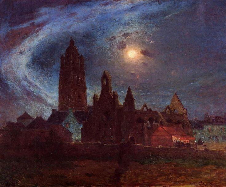 "Ferdinand du Puigaudeau - ""The Bourg-de-Batz Church under the Moon"" Painted on the nightshift."