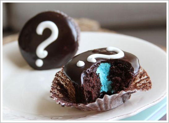 Revealing the gender of your baby with a cupcake...fun idea.