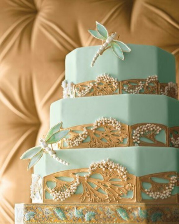 Turquoise with gold and dragonflies wedding cake