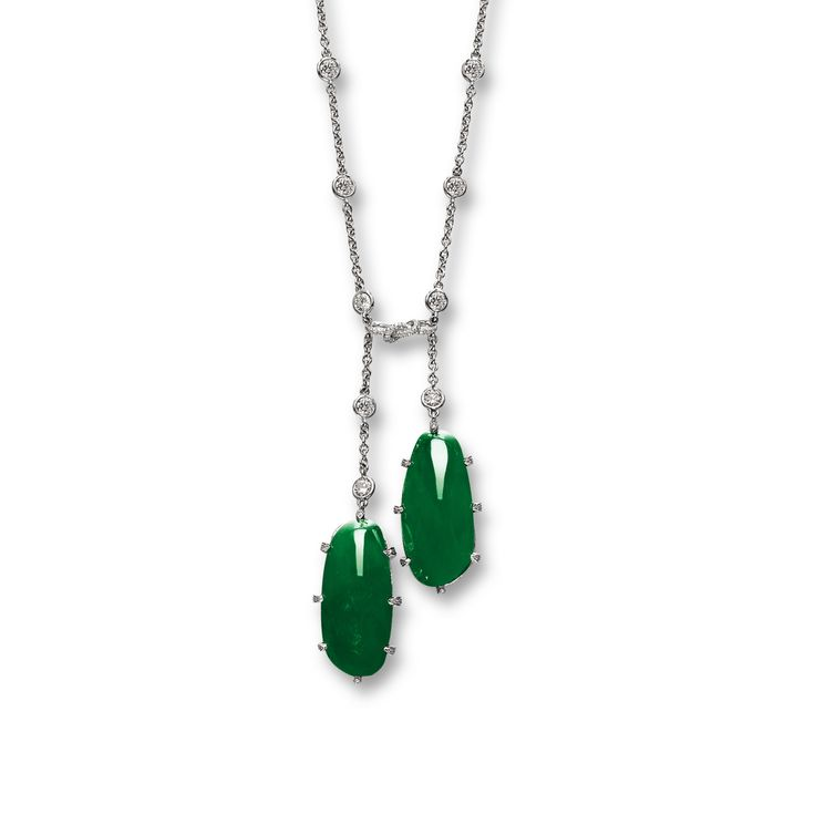 Fine Jadeite and Diamond Negligee Necklace, Carvin French | Lot | Sotheby's
