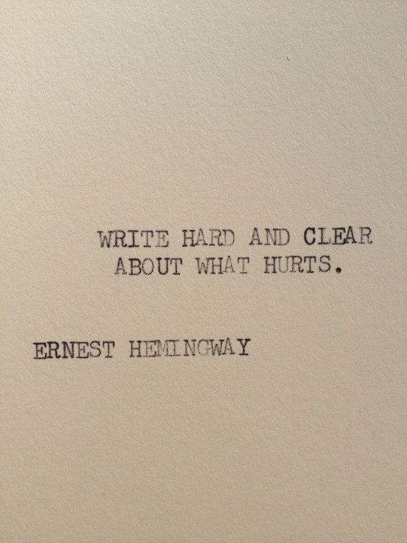 Ernest Hemmingway typewriter quote on  5 x 7 cardstock from Etsy