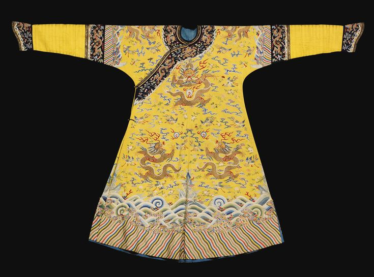 A rare Imperial yellow Empress' kesi semi-formal robe (jifu), Qing dynasty, Qianlong period