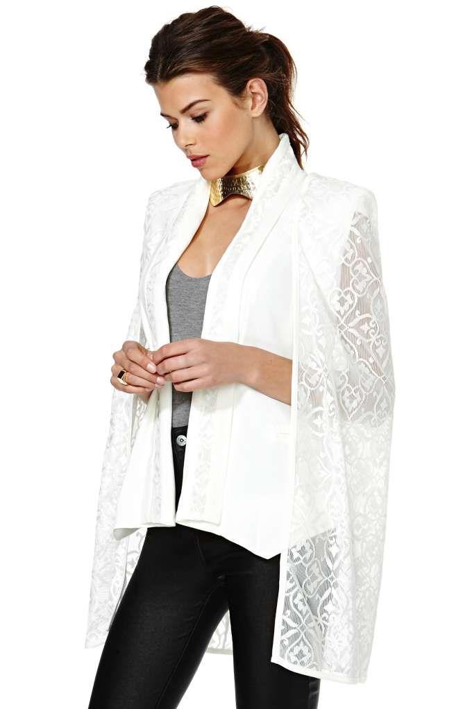 Elliatt Cape Blazer - White Crochet