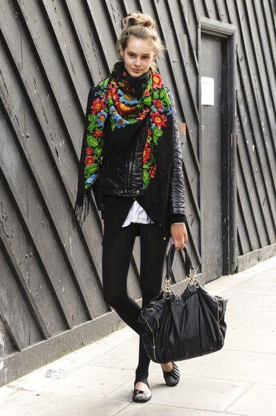 All black with a bright floral scarf