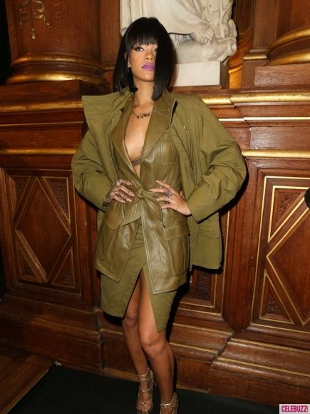 Rihanna in Balmain for Paris Fashion Week 2014