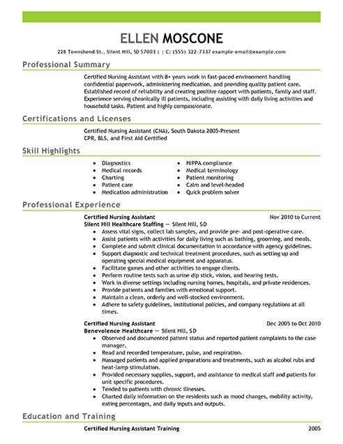 resume sample resume examples certified nursing assistant 1