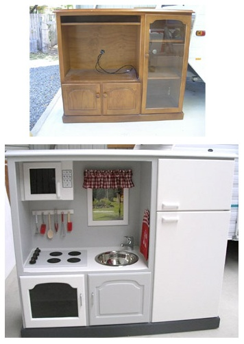 Old tv stand turned kids kitchen. I'm pretty sure there is still one of these in my parents basement gathering dust. Totally going to do this :)