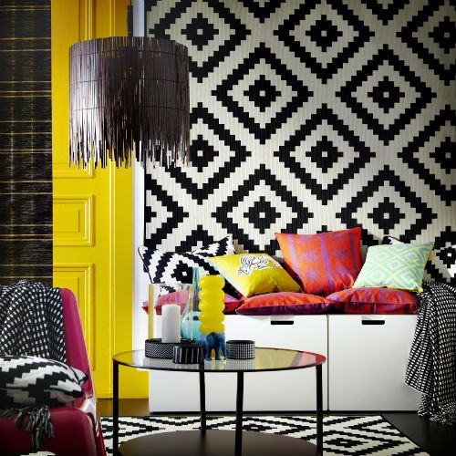 Get the look! The LAPPLJUNG textile collection of rugs, cushions, curtains, duvet covers and more, is definitely IKEA but in a style that drew more from global influences, handmade traditions and graphic patterns.