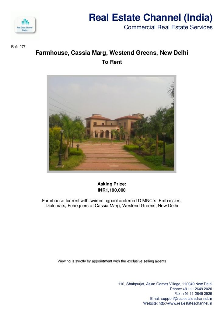 farmhouse-cassia-marg-westend-greens-new-delhi by Real Estate Channel (India) via Slideshare