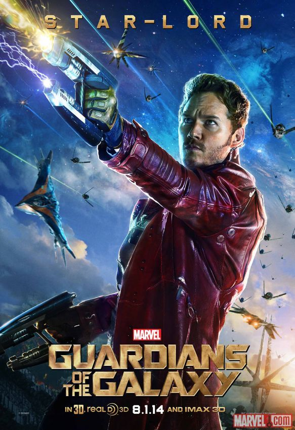 "Marvel's ""Guardians of the Galaxy"" Star-Lord character poster, played by Chris Pratt. Visit http://Facebook.com/GuardiansoftheGalaxy for all the news and info!"