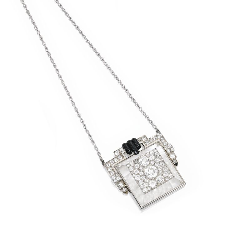 Platinum, gold, rock crystal, onyx and diamond 'Pyramide' pendant, Suzanne Belperron, France
