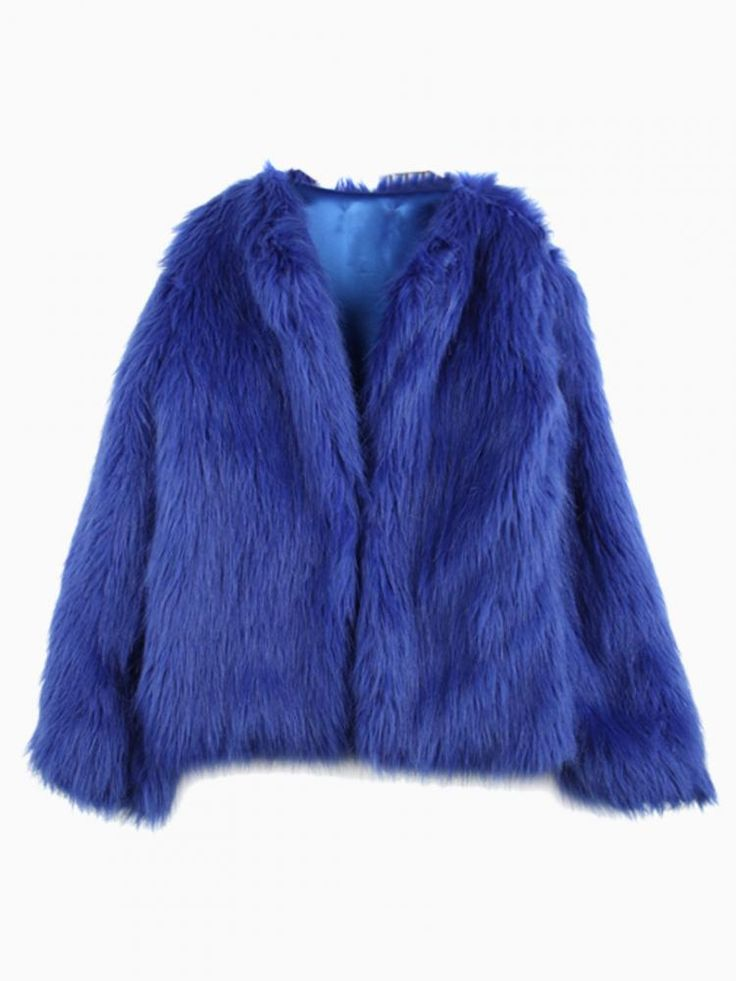 Blue Faux Fur Coat #jacket #winter #fluffy
